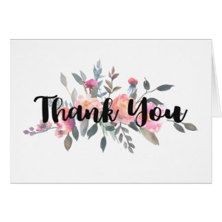Chic Watercolor Peony Floral Wedding Thank You Card