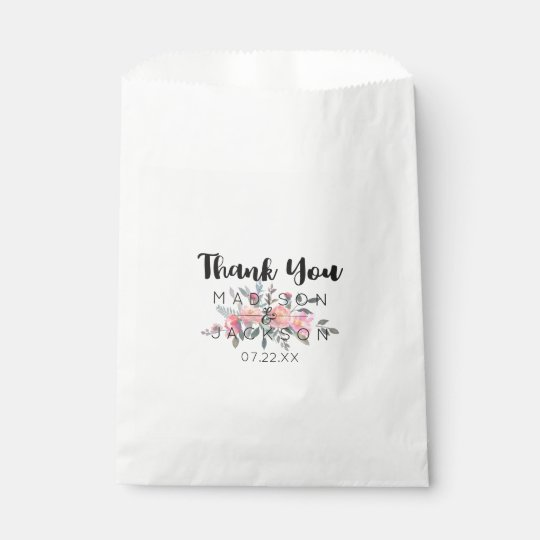 Chic Watercolor Peony Floral Wedding Thank You Favour Bag
