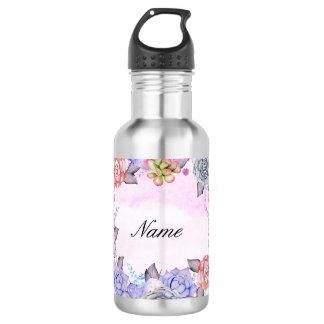 Chic Watercolor Succulents Wreath 532 Ml Water Bottle