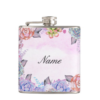 Chic Watercolor Succulents Wreath Flask