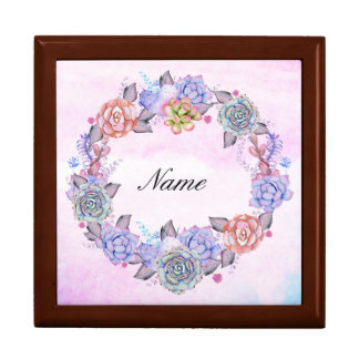 Chic Watercolor Succulents Wreath Gift Box