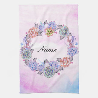 Chic Watercolor Succulents Wreath Hand Towels