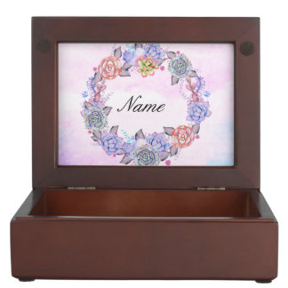 Chic Watercolor Succulents Wreath Keepsake Box
