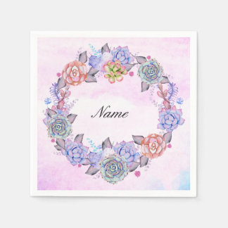 Chic Watercolor Succulents Wreath Paper Napkins