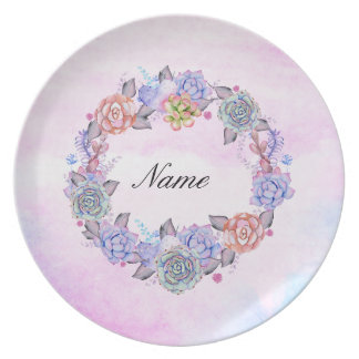 Chic Watercolor Succulents Wreath Plate