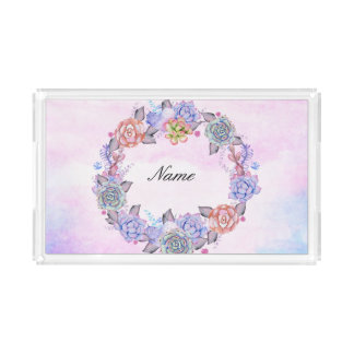 Chic Watercolor Succulents Wreath Serving Tray