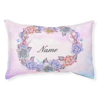 Chic Watercolor Succulents Wreath Small Dog Bed