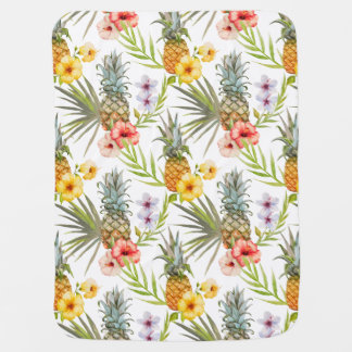 Chic Watercolor Tropical Flowers Leaves Pineapple Baby Blanket