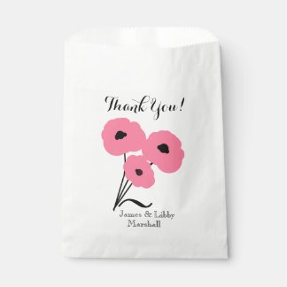 """CHIC WEDDING FAVOR BAG_""""THANK YOU"""" PINK POPPIES FAVOUR BAG"""