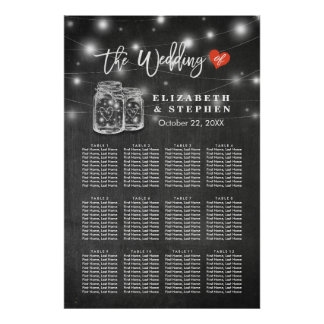 Chic Wedding Seating Chart Mason Jar String Lights Poster