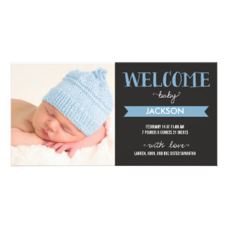 Chic Welcome Baby Boy Birth Announcement Photo Cards