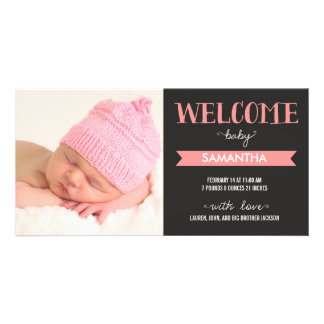 Chic Welcome Baby Girl Birth Announcement Picture Card