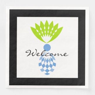 """CHIC """"Welcome""""  MOD TROPICAL BLUE  PINEAPPLE Paper Dinner Napkin"""