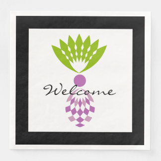 """CHIC """"Welcome""""  MOD TROPICAL PURPLE PINEAPPLE Paper Dinner Napkin"""