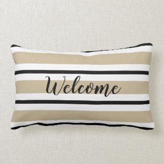 CHIC WELCOME THROW PILLOW_TAN/BLACK/WHITE  STRIPES LUMBAR PILLOW