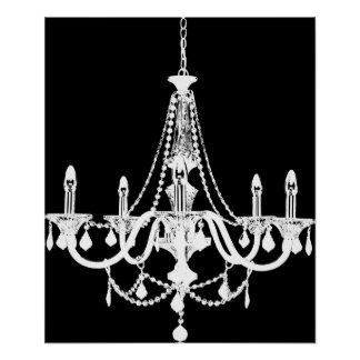 Chic White and Black Chandelier Poster