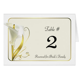 Chic White and Ivory Calla Lily Table Number