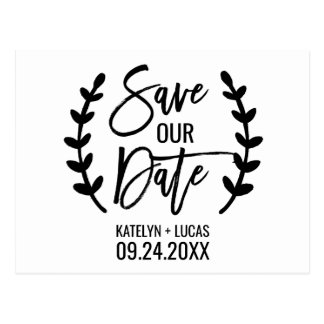 Chic White Black Olive Branches Save our Date Postcard