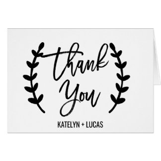 Chic White Black Olive Branches Thank You Card
