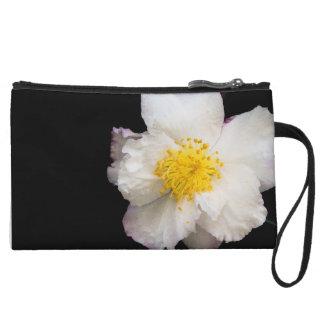 Chic White Camellia Floral Custom Mini Clutch Wristlet