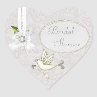 Chic White Dove Paisley Lace & Cameo Bridal Shower Heart Sticker