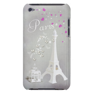 Chic White Eiffel Tower & Whimsical Butterflies iPod Case-Mate Case