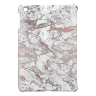 Chic white faux rose gold modern marble iPad mini case