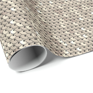 Chic White Gold Faux Sequins Graphic Print Wrapping Paper
