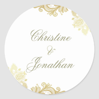Chic White & Gold Foil Floral Lace Wedding Classic Round Sticker