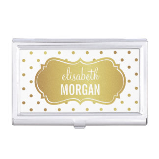 Chic White Gold Glitter Frame with Polka Dots Business Card Holders