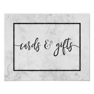 Chic White & Gray Marble Wedding Cards & Gifts Poster