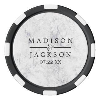Chic White & Gray Marble Wedding Favor Poker Chips