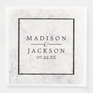 Chic White & Gray Marble Wedding Monogram Disposable Napkins