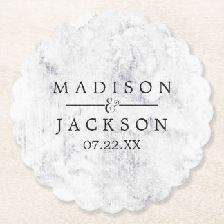 Chic White & Gray Marble Wedding Monogram Paper Coaster