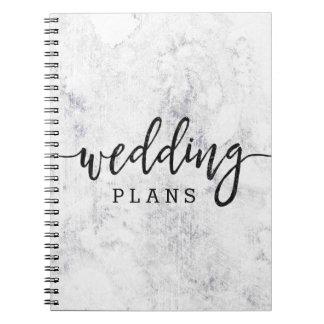 Chic White & Gray Marble Wedding Planner Spiral Notebook