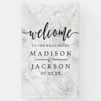 Chic White & Gray Marble Wedding Welcome Banner