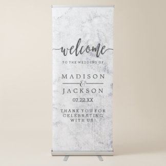 Chic White & Gray Marble Wedding Welcome Retractable Banner