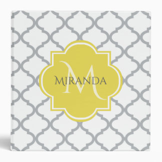 Chic White Gray Quatrefoil Yellow Monogrammed Name 3 Ring Binders