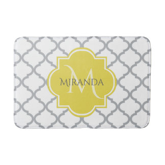 Chic White Gray Quatrefoil Yellow Monogrammed Name Bath Mat