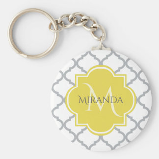Chic White Gray Quatrefoil Yellow Monogrammed Name Keychain