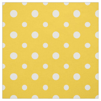 Chic White on Yellow Polka Dots Daisy Chain Fabric