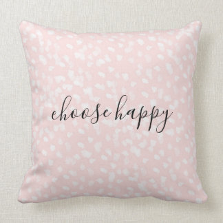Chic White Pink Spots Throw Pillow