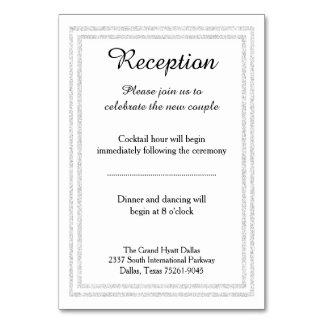 Chic White Silver Glitter Trim - Reception Insert Card