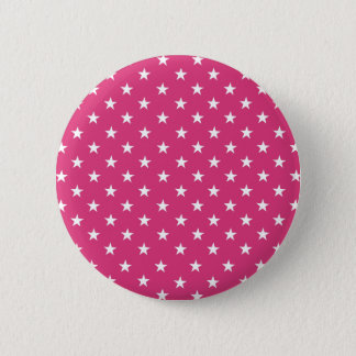 Chic White Stars On Fashionable Cabaret Red. Buy 2 Inch Round Button