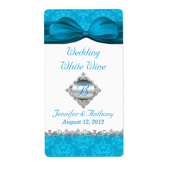 Chic White & Turquoise Damask Mini Wine Labels
