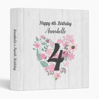 Chic White Wood & Floral Happy Birthday Scrapbook 3 Ring Binders