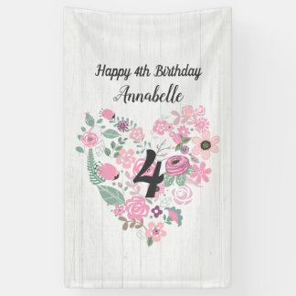 Chic White Wood & Whimsical Floral Happy Birthday Banner
