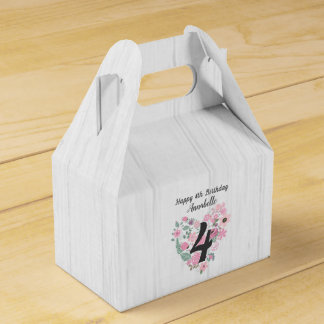 Chic White Wood & Whimsical Floral Happy Birthday Favor Box