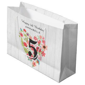 Chic White Wood & Whimsical Floral Happy Birthday Large Gift Bag