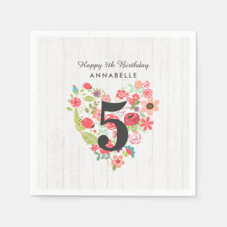 Chic White Wood & Whimsical Floral Happy Birthday Paper Napkin